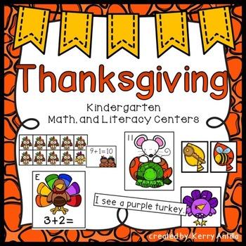 Thanksgiving Kindergarten Math and Literacy Centers