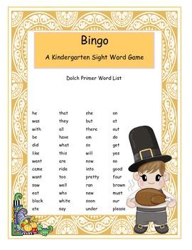 Thanksgiving Kindergarten Sight Word Bingo Game