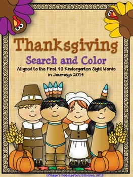 Thanksgiving Kindergarten Sight Word Search and Color