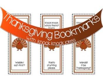 Thanksgiving Knock Knock Joke Bookmarks