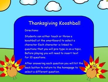Thanksgiving Kooshball Game for SMARTboard