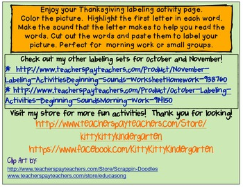 Thanksgiving Labeling Activity/Homework/Beginning Sounds