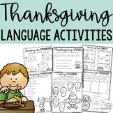 Thanksgiving Language Activities Pack- For Speech Therapy, EAL/EFL/ELA