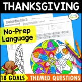 Thanksgiving Language Activities Speech Therapy Coloring pages