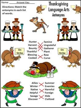 Thanksgiving Activities: Thanksgiving Language Arts