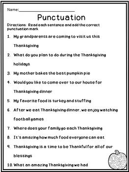 Thanksgiving Language Arts Activities