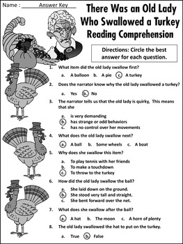 Thanksgiving Language Arts Activities: Old Lady Who Swallowed a Turkey Activity