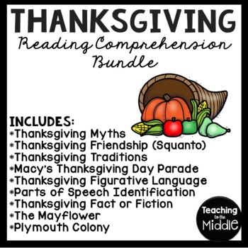 Thanksgiving Language Arts Bundle; Reading Comprehension, Grammar, 8 products