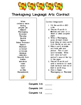 Thanksgiving Language Arts Contract Freebie