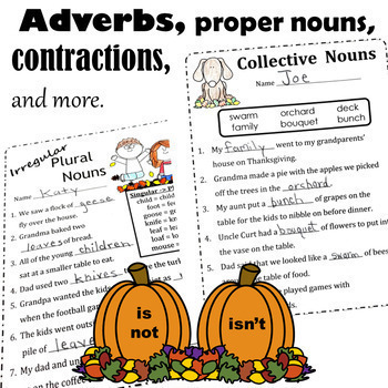 Thanksgiving Language Arts ELA Printables - Common Core Second Grade