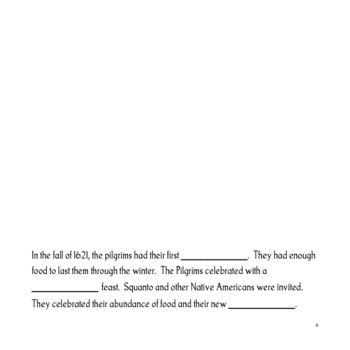 Thanksgiving Language Arts: Fill-in-the-Blanks Book and Word Puzzles