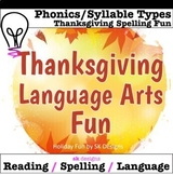 Thanksgiving Language Arts Riddles Syllables Spelling Game