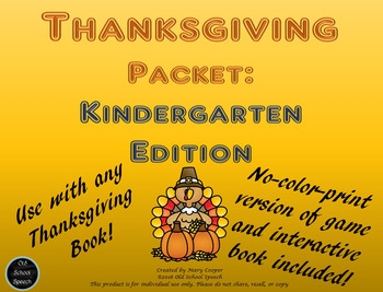 Thanksgiving  Language-Based Packet for Kindergarten