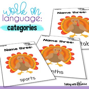 Thanksgiving Expressive Language Card Decks