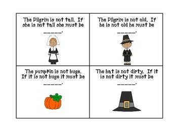 Thanksgiving Language Pack- Antonyms & Irregular Past Tense