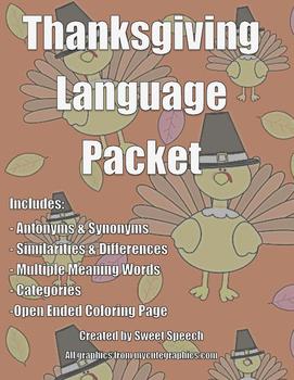 Thanksgiving Language Packet
