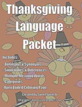 NO PREP Thanksgiving Language Packet