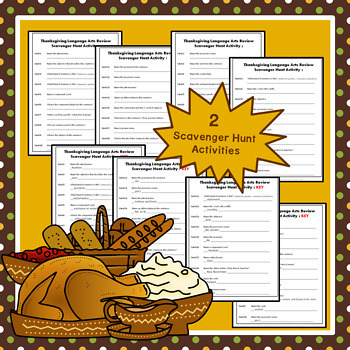 Thanksgiving Language Review Scavenger Hunt extra questions included