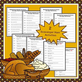 Thanksgiving Language Review Scavenger Hunt