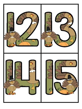 Thanksgiving Large Numbers 0-20 Flashcards - Make Activities and Room Decor FREE