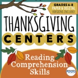 Thanksgiving Learning Centers - 5 Reading Comprehension Sk