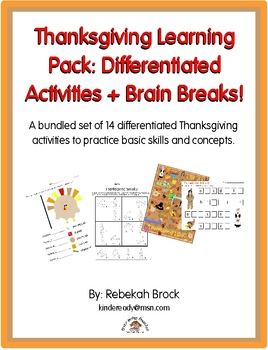 Thanksgiving Learning Pack: Differentiated Activities + Brain Breaks!