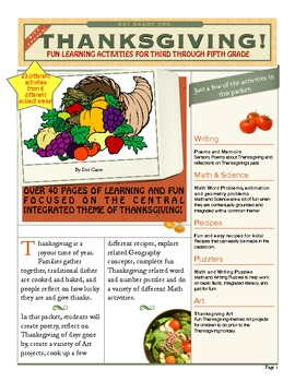 Thanksgiving Learning and Fun!  23 Cross-Curricular Activities for 3rd-5th Grade