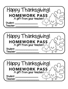 """Thanksgiving"" Leave Friends - Homework Pass –Holiday FUN! (color & black line)"