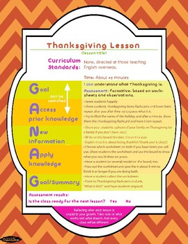 Thanksgiving Lesson Pack! EFL/ALT
