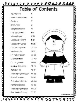 Thanksgiving Lesson Plans Thematic Unit Pre-K English Spanish Bilingual