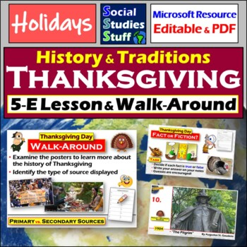 Thanksgiving Lesson- Primary vs. Secondary Sources and Cou