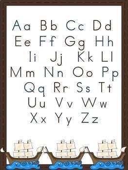 Thanksgiving Alphabet Cards and Charts (D'Nealian and Zaner-Bloser manuscript)