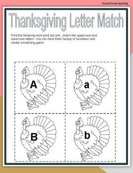 Thanksgiving Letter Match