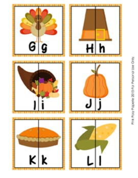 Thanksgiving Letter Match Puzzles