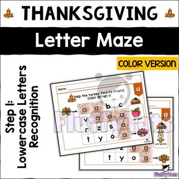 Thanksgiving Letter Maze : 3 Steps Letter Maze BUNDLE, Color Version