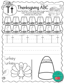 Thanksgiving ABC Worksheets