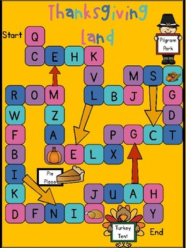 Thanksgiving Letter Recognition Game- Board Game