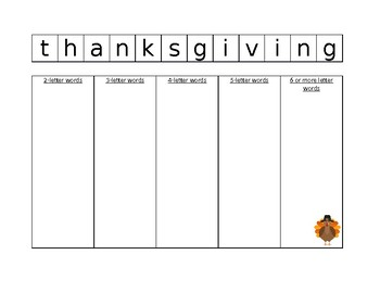 Thanksgiving Letter Scramble