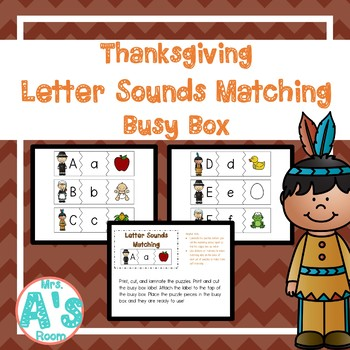 Thanksgiving Letter Sounds Matching Busy Box