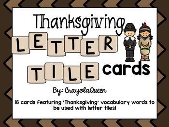 Thanksgiving Letter Tile Cards