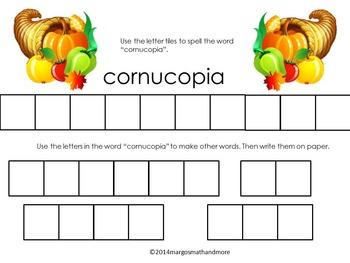 Preprinted No Prep Thanksgiving Letter Tile Fun
