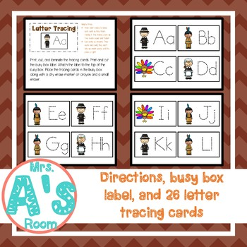 Thanksgiving Letter Tracing Busy Box