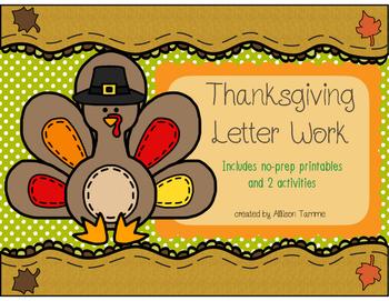 Thanksgiving Letter Work