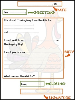 Thanksgiving Letter Writing Templates for Primary Grades
