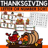 Thanksgiving Letter or Number Sort | November