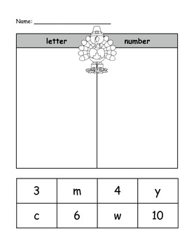 Thanksgiving Letter vs Word and Letter vs Number Sorts