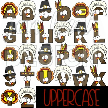 Letters Clipart Thanksgiving -AlphaTURKEY