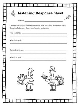 Thanksgiving Listening Center Response Sheets