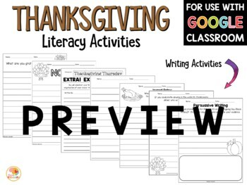 Thanksgiving Literacy Activities Printables