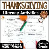 Thanksgiving Literacy Activities: No Prep Printables